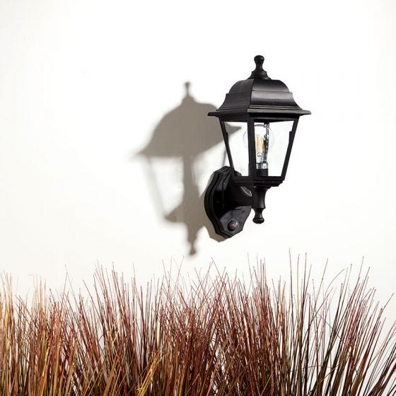 Edit Coastal Sennen Outdoor Lantern Wall Light with PIR Sensor - Black