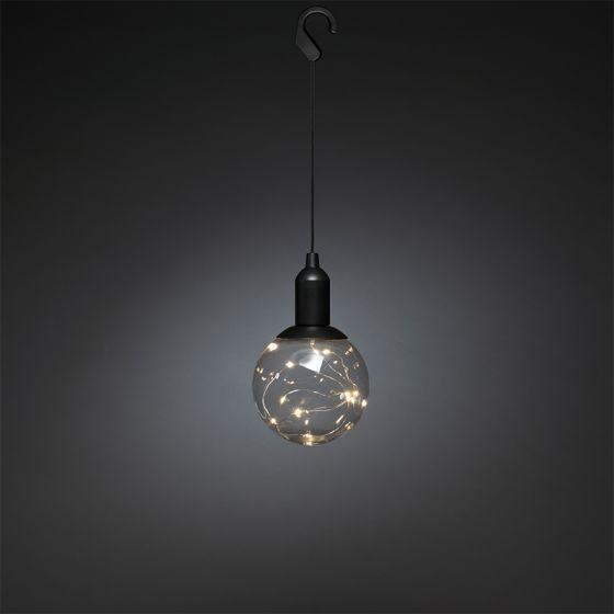 Konstsmide Battery Operated LED Bauble Decoration - Black