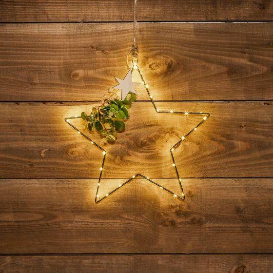 Edit Eucalyptus LED Micro Wire Hanging Star Decoration