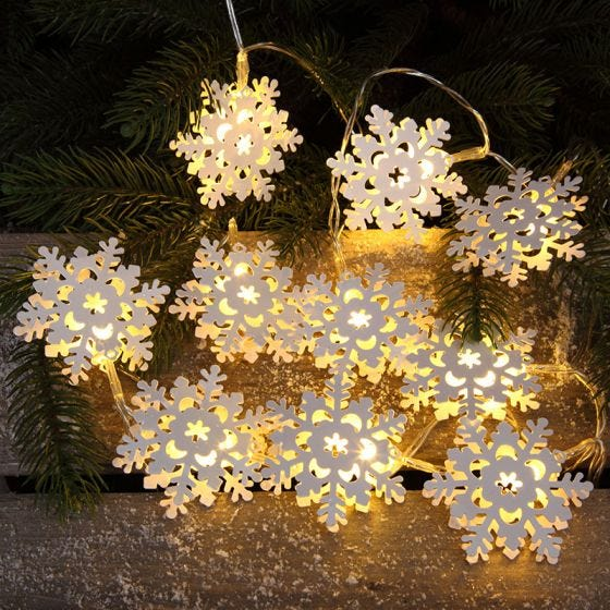 Edit Snowflake Battery Operated LED String Lights - 10 Lights