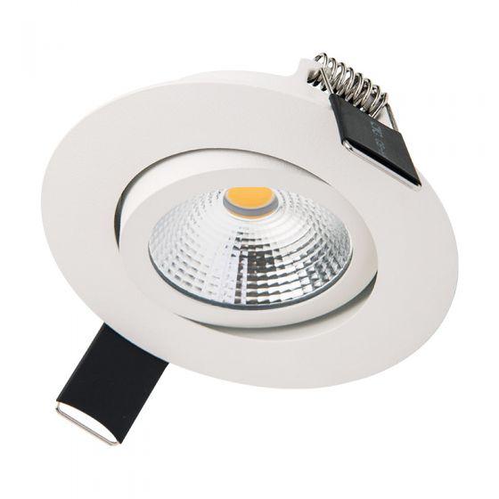 Integral Ultra Slim 6.5W Warm White Dimmable LED Tiltable Downlight - White