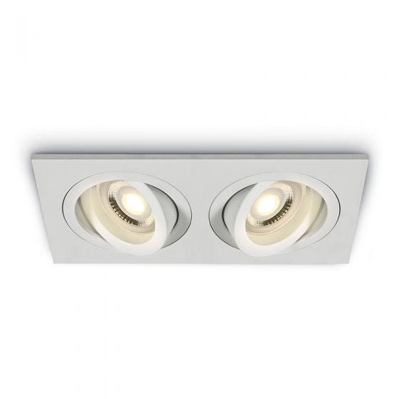 Bay Rectangle Adjustable Twin Downlight - White
