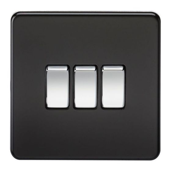 Matt Black Screwless 10A 3 Gang 2 Way Light Switch with Chrome Rocker