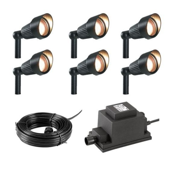 Techmar Plug and Play -  Focus Verona Garden Spotlight Kit  - 6 Lights
