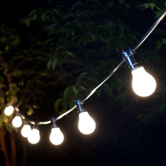 22M Weatherproof Warm White LED Black Festoon Lighting Kit - 20 Lights