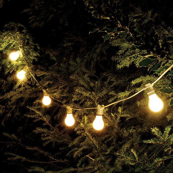 52M Weatherproof Warm White LED White Festoon Lighting Kit - 50 Lights