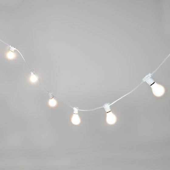 52M Weatherproof Cool White LED White Festoon Lighting Kit - 50 Lights