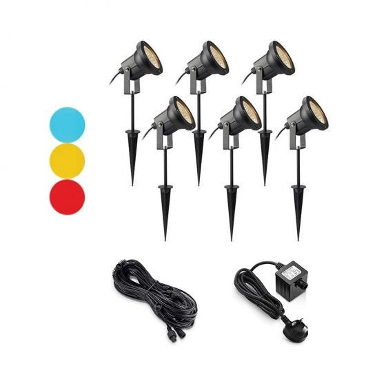 EasyFit 12v Garden Lights - Scene LED Spotlight Kit - 6 Lights