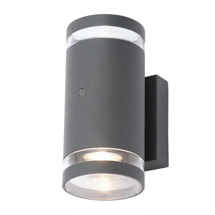 Forum Lens Outdoor Up Down Wall Light With Dusk To Dawn Sensor Anthracite Lighting Direct
